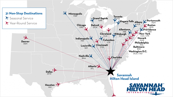 Flights to Savannah Georgia from non stop destinations